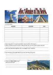 English Worksheet: New 7 Wonders of the World