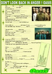 English Worksheet: Don�t look back in anger !Oasis