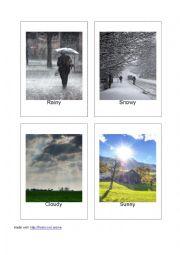 English Worksheet: 20 Printable Flashcards of Weather