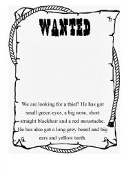 English Worksheet: Wanted Poster