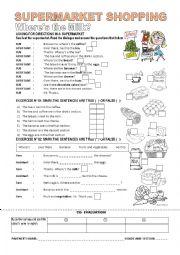 English Worksheet: Supermarket Shopping