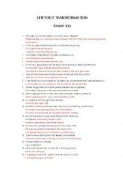 English Worksheet: Sentence transformation (answer key)