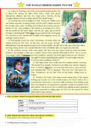 English Worksheet: The woman behind Harry Potter Joanne K. Rowling