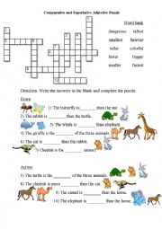 English Worksheet: Compare animals with comparative and superlative adjectives