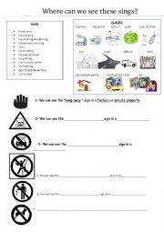 English Worksheet: Information and warning signs