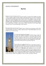 English Worksheet: Big Ben Reading