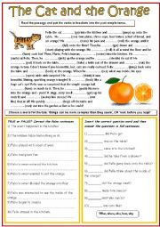 English Worksheet: The cat and the orange