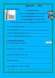 English worksheet: Test I