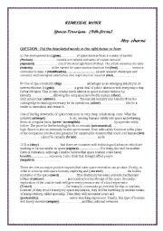 English Worksheet: space tourism language tasks