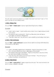 English Worksheet: conditionlas - I wish / if only