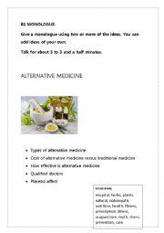 English Worksheet: B1 MONOLOGUE: ALTERNATIVE MEDICINE