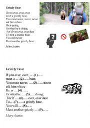 English Worksheet: Grizzly bear poem
