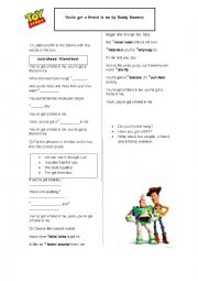 English Worksheet: You´ve got a friend in me by Randy Newman