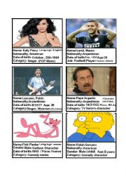 English Worksheet: Famous People ID Cards (Argentina) Game