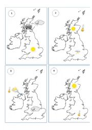 English Worksheet: 16 weather forecast speaking cards(fully editable)