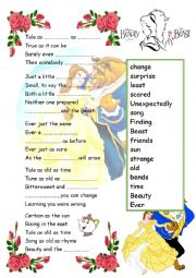 English Worksheet: Beauty And The Beast Tale as old as Time Song