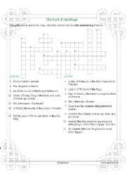 English Worksheet: The Lord of the Rings & Hobbit