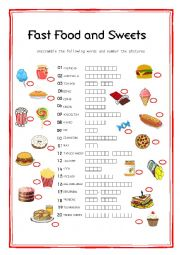 English Worksheet: Fast Food and Sweets