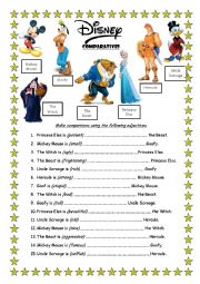 English Worksheet: Comparatives Disney