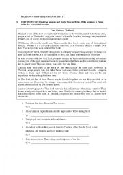 English Worksheet: FOOD IN THAILAND READING COMPREHENSION ACTIVITY