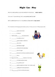 English Worksheet: Might, Can and May