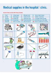 English Worksheet: Medical supplies in a hospital / clinic.