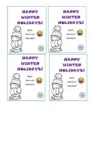 English Worksheet: HAPPY WINTER HOLIDAYS CARDS