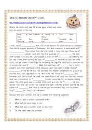 English Worksheet: History Cloze - Jack-o-lanterm