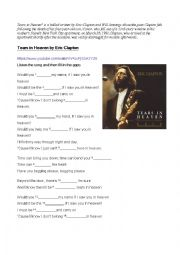 English Worksheet: Tears in Heaven by Eric Clapton
