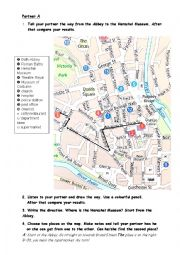 English Worksheet: Asking for the way in Bristol- Partner A