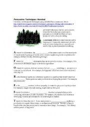 English Worksheet: AFOREST Persuasive Techniques