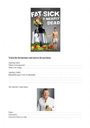 English Worksheet: Fat sick and nearly dead