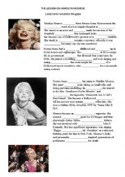 English worksheet: Marilyn Monroe