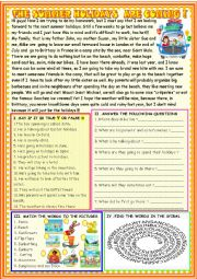 English Worksheet: The summer holidays are coming :reading comprehension
