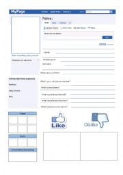 English Worksheet: FACEBOOK PROFILE personal information