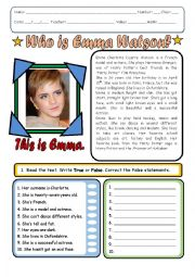 English Worksheet: Emma Watson´s Biography