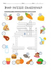 English Worksheet: Food Puzzle Crossword Worksheet