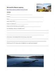 English Worksheet: The Loch Ness Monster mystery