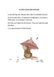 english worksheets a house for mouse. Black Bedroom Furniture Sets. Home Design Ideas