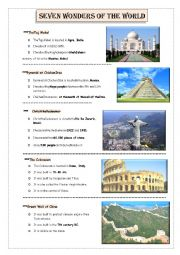English Worksheet: seven wonders of the world