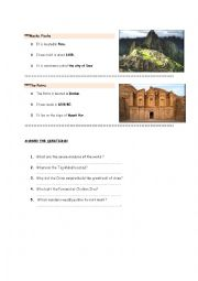 English Worksheet: seven wonders of the world 2