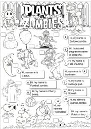 English Worksheet: plants vs zombies