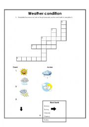 English Worksheet: Weather Condition Crossword with pictures
