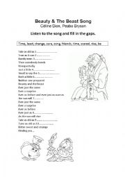 English Worksheet: Beauty and the Beast Song