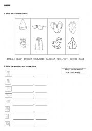 English Worksheet: Revision clothes, seasons and weather