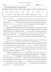 Vocabulary worksheet about The Technological World