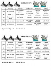 English Worksheet: After school activities (battleship)