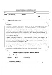 English Worksheet: READING AND LISTENING TEST