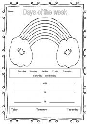 English Worksheet: Days of the week rainbow with �yesterday, today & tomorrow�
