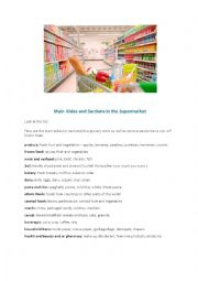 English Worksheet: Main aisles in the supermarket - 4 pages - with QR code activity